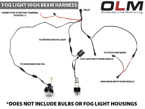 OLM Fog with High Beam Harness