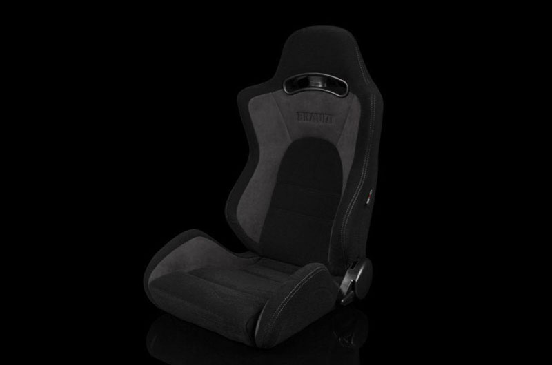 Braum S8 Series V2 Sport Seats - Black Cloth with Grey Microsuede Pair