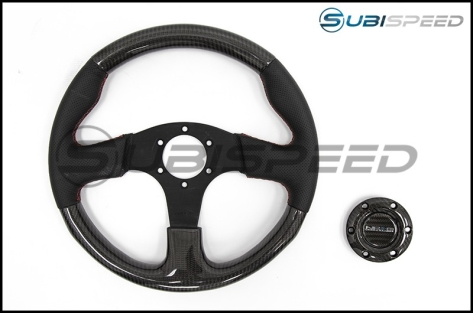 NRG 315mm Carbon Fiber Steering Wheel With Red Stitching