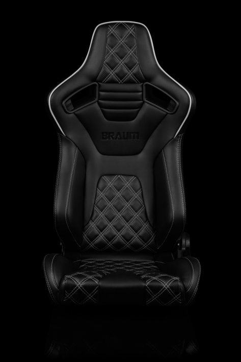 Braum Elite-X Series Racing Seats Diamond Edition White Piping Pair - Universal