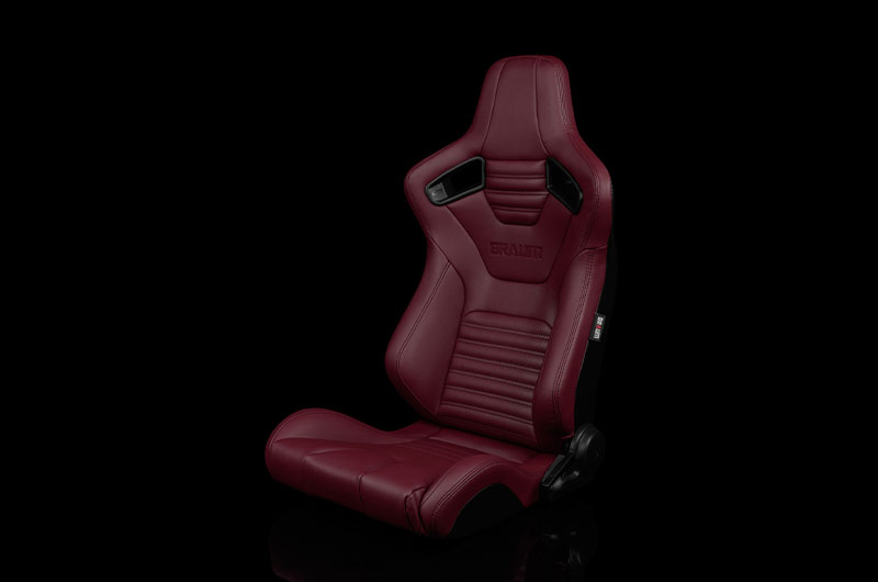 Braum Elite-X Series Sport Seats - Maroon Leatherette (Black Stitching) Pair