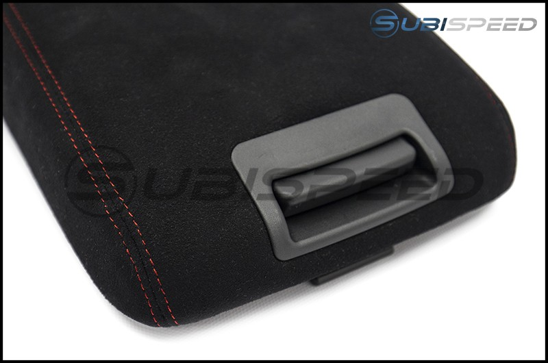 JDM Station Alcantara Style Extended OEM Arm Rest Cover with Red Stitching