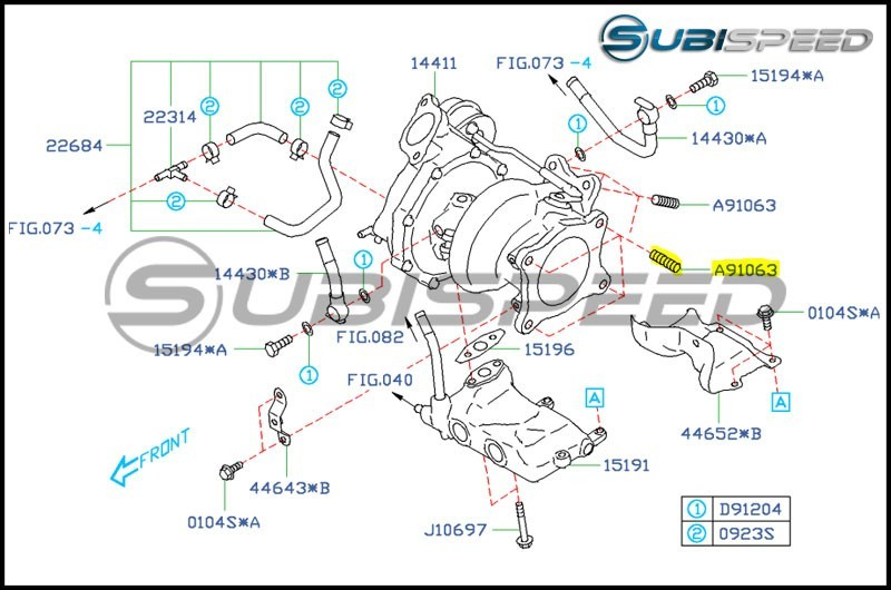 Subaru OEM Turbo to J Pipe Stud