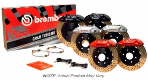 Brembo 4 Piston Rear BBK Slotted or Drilled : Red Caliper, Drilled Rotor - 2P1.8042A2