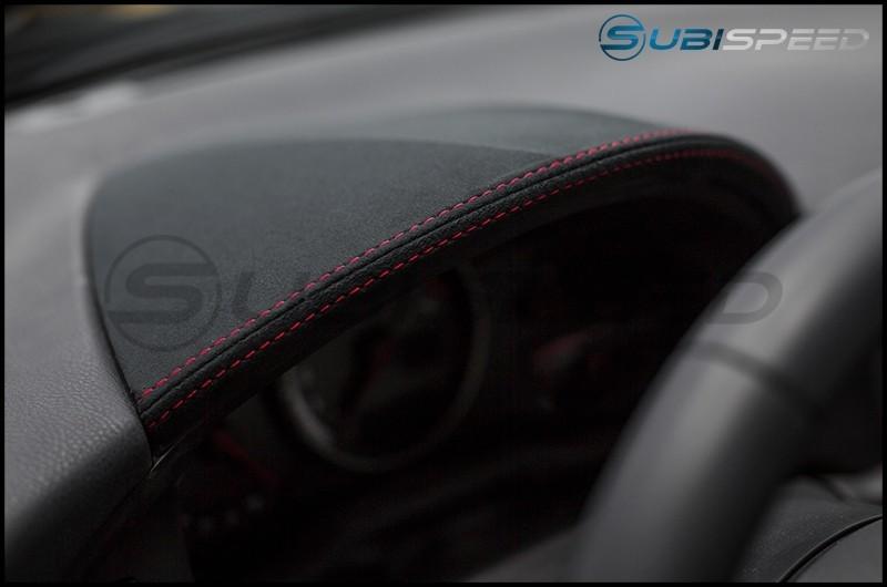 Subaru BRZ tS JDM Alcantara Black with Red Stitching Gauge Trim