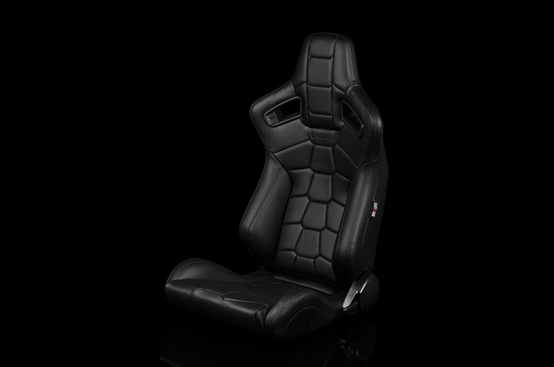 Braum Elite-X Series Sport Seats - Komodo Edition   Black Leatherette (Black Stitching) Pair