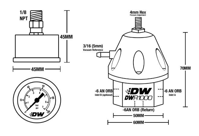 DW Adjustable Fuel Pressure Regulator