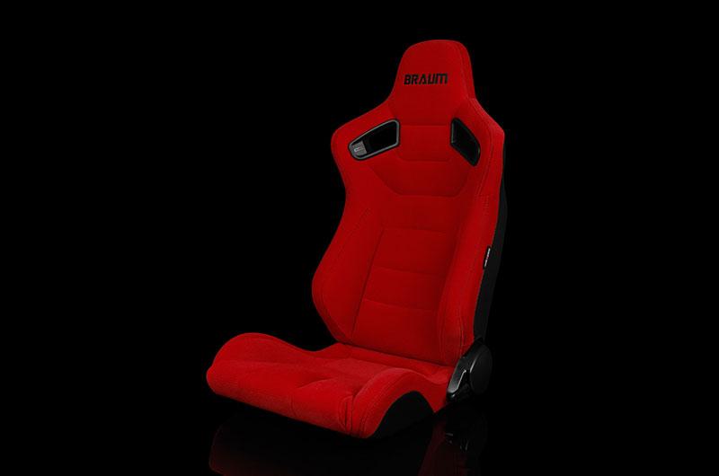 Braum Elite Series Sport Seats - Red Cloth (Black Stitching) Pair