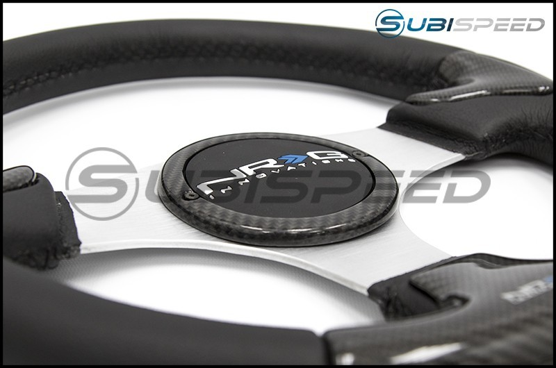 NRG 350mm carbon fiber steering wheel Silver Frame With Black Stitching