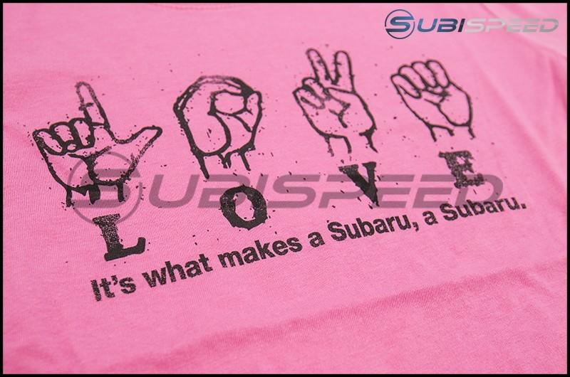 Subaru Ladies' Hot Pink Love Sign Tee