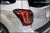 OLM USDM CS Style LED Tail Lights (Smoked/Black Base/White Bar) - 2014-2018 Forester