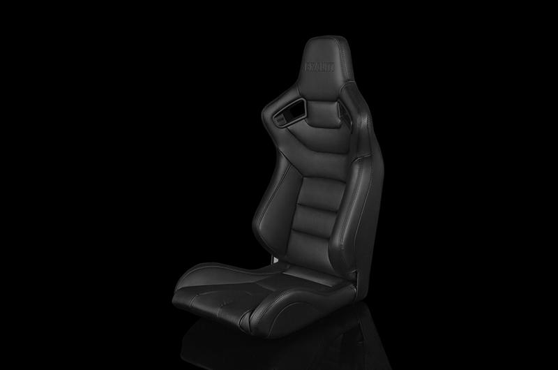 Braum Elite Series Fixed Back Sport Seat - Black Leatherette (Black Stitching) Each