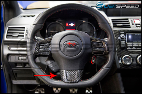 OLM LE Dry Carbon Fiber Lower Steering Wheel Cover - 2015+ WRX / 2015+ STI