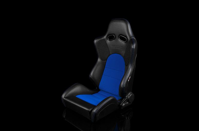 Braum Advan Series Sport Seats - Black Leatherette with Blue Fabric Insert Pair