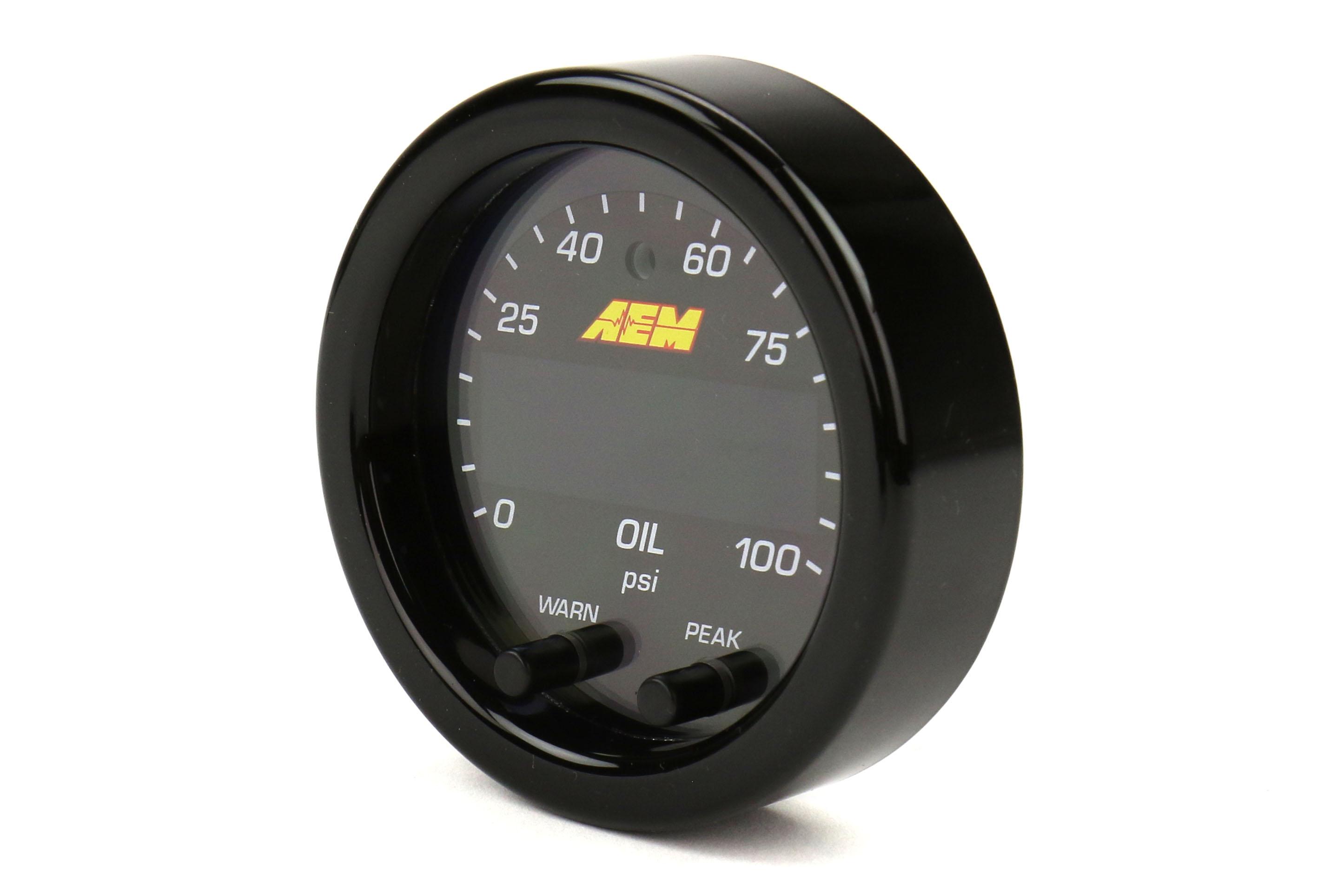 AEM X Series Universal Oil Pressure Gauge 0-100psi 52mm