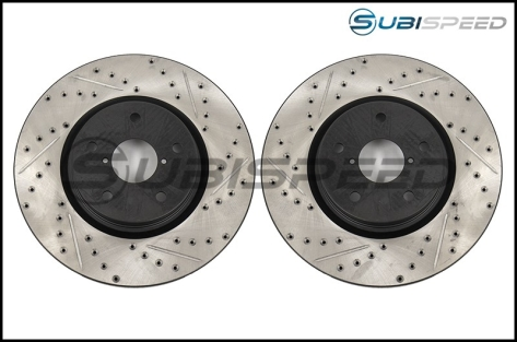 StopTech Drilled and Slotted Sport Rotors (front) - 2015+ WRX