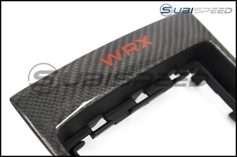 OLM LE Carbon Fiber MT Shifter Trim with Red WRX Logo - 2015+ WRX
