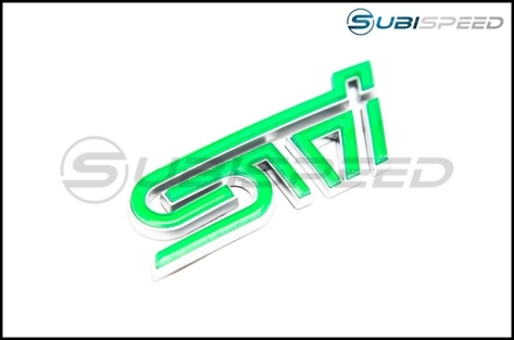 STI Leprechaun Green Trunk Emblem with Silver Border - 2015+ WRX / 2015+ STI