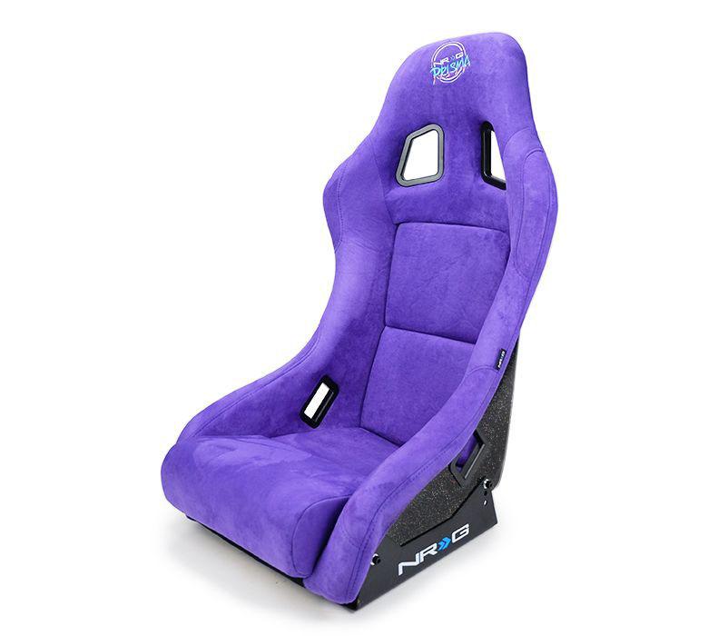 NRG Innovations FRP Bucket Seat PRISMA Edition with pearlized back. All Black alcantara vegan material. (Medium)