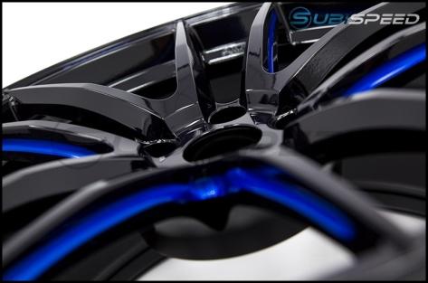 Wedssport RN55M 18x9.5 +38mm Black Blue Machine - 2015+ WRX / 2015+ STI
