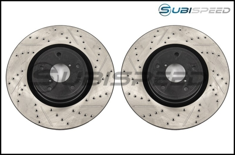 StopTech Drilled and Slotted Sport Rotors (Front) - 2015-2017 STI