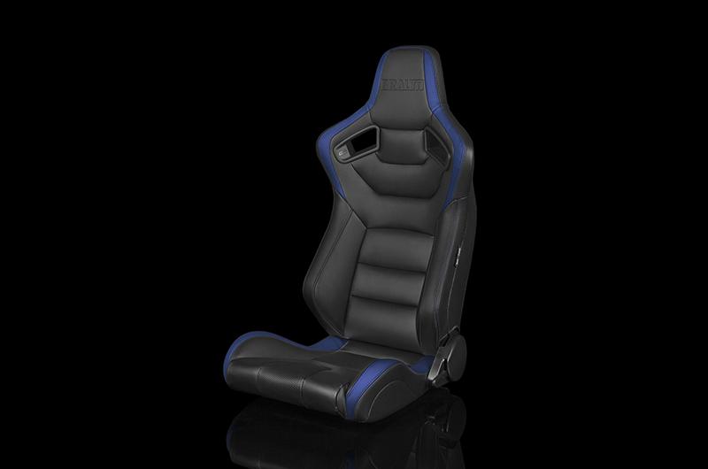 Braum Elite Series Sport Seats - Black and Blue Leatherette Pair