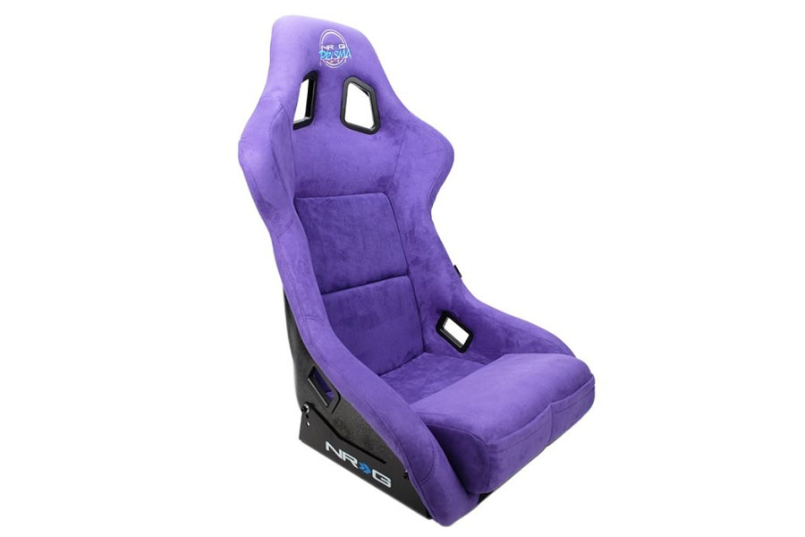NRG Innovations FRP Bucket Seat PRISMA Edition with pearlized back. All Purple alcantara vegan material. (Large)