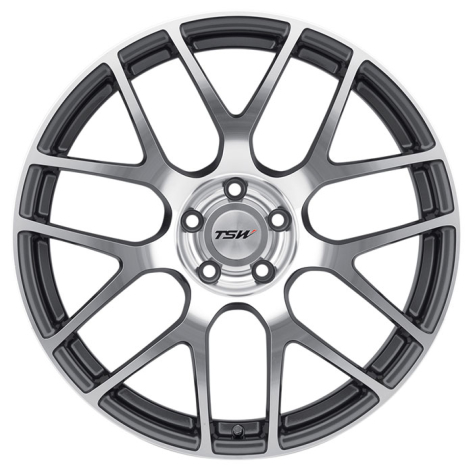TSW Nurburgring Wheels 17x8 +35mm (Gunmetal w/ Machined Face) - 2013+ FR-S / BRZ / 86 / 2014+ Forester