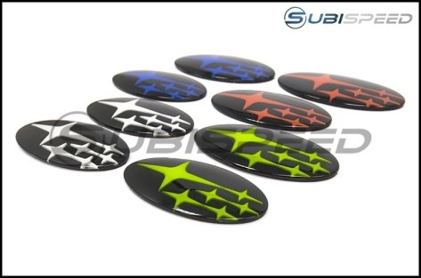 GCS Front and Rear Gloss Black Subaru Emblem Kit