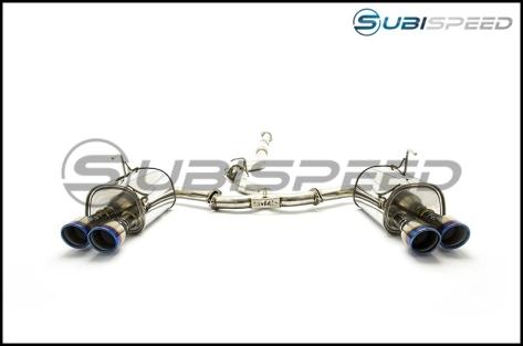 Invidia 15+ Subaru WRX/STI 4Dr Q300 Twin Outlet Rolled Titanium Burnt Quad Tip Cat-Back Exhaust - 2015+ WRX / 2015+ STI-Titanium Tips