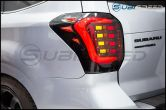 OLM USDM CS Style Sequential LED Tail Lights (Smoked/Gold Base/Red Bar) - 2014-2018 Forester