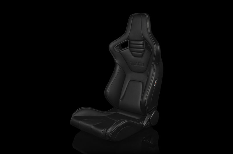Braum Elite-X Series Sport Seats - Black Leatherette (White Stitching) Pair