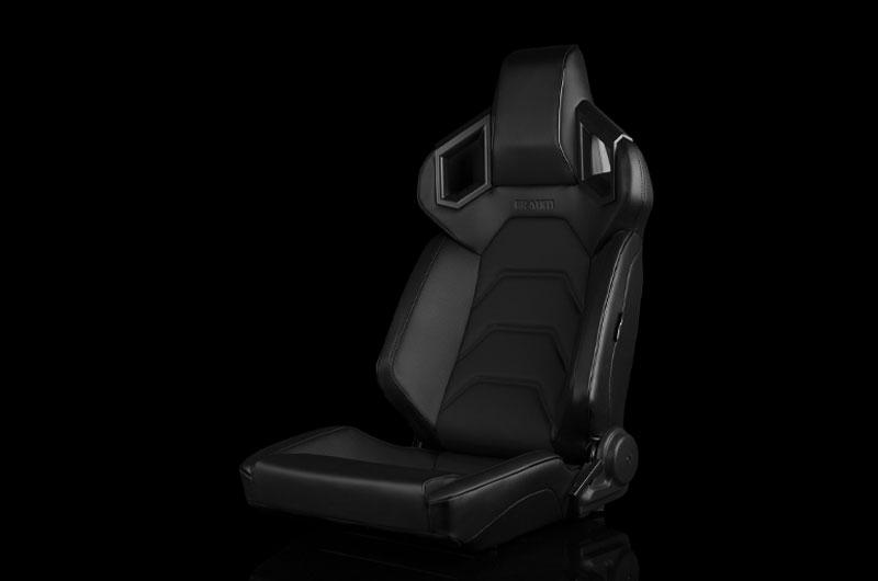 Braum Alpha X Series Sport Seats - Black & Black Stitching - Low Base Version