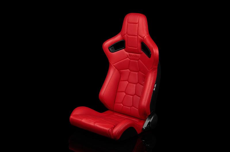 Braum Elite-X Series Sport Seats - Komodo Edition | Red Leatherette (Black Stitching) Pair