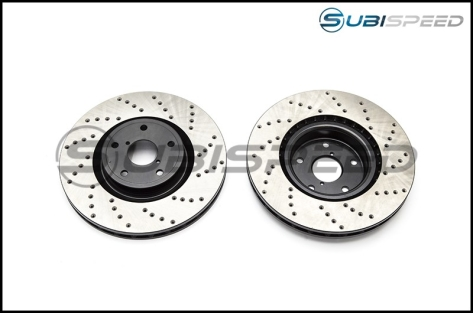 StopTech Cross-Drilled Sport Rotors (Front) - 2015-2017 STI