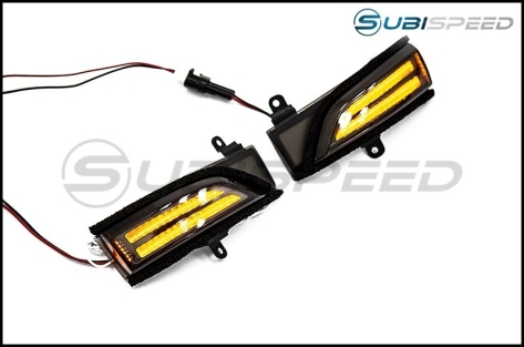 OLM Sequential Mirror Turn Signals with DRLs (Clear Lens) - 2015+ WRX / 2015+ STI / 2015-2018 Forester