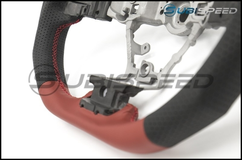 DAMD Steering Wheel Black and Red Leather with Red Stitch
