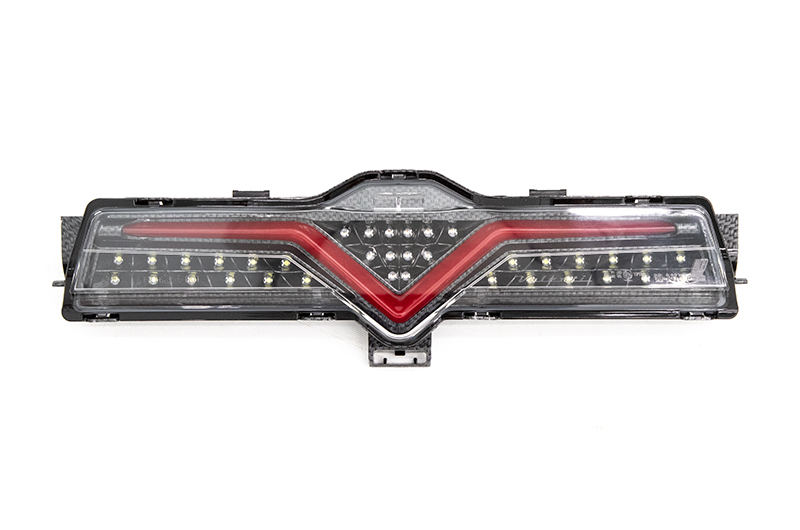 OLM VL Style Sequential 4th Brake Light / Reverse Light (Clear Lens, Carbon Look Base, Red Bar)