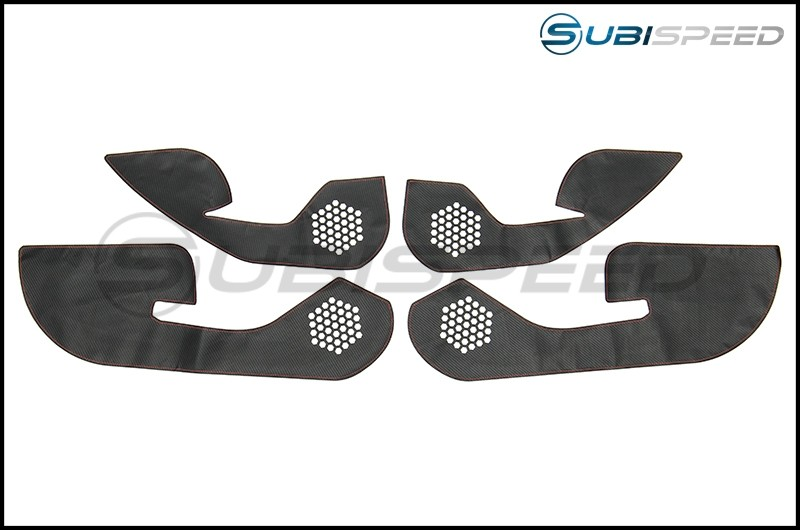 OLM Carbon Look Kick Guard Protection Set with Red Stitching (Non HK Equipped)