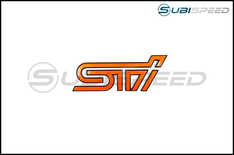 STI Orange Trunk Emblem with Matte Black Border