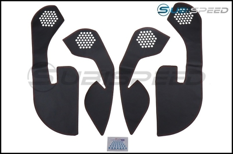 OLM Leather Look Kick Guard Protection Set with Red Stitching (Non HK Equipped)