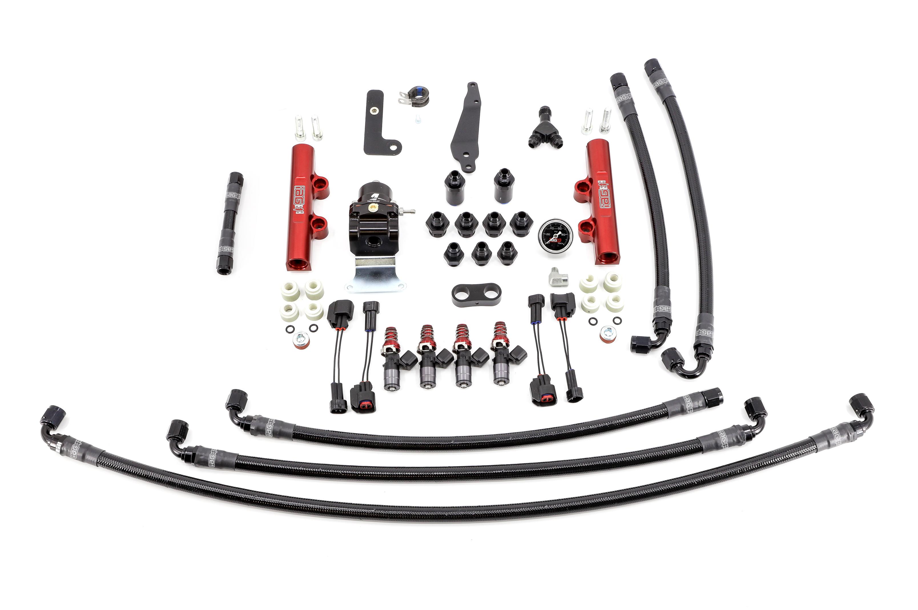 IAG PTFE Flex Fuel System Kit w/ 1300cc Injectors, Lines, FPR, Red Fuel Rails