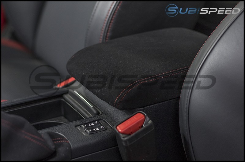 JDM Station Alcantara Style Stock Arm Rest Cover with Red Stitching
