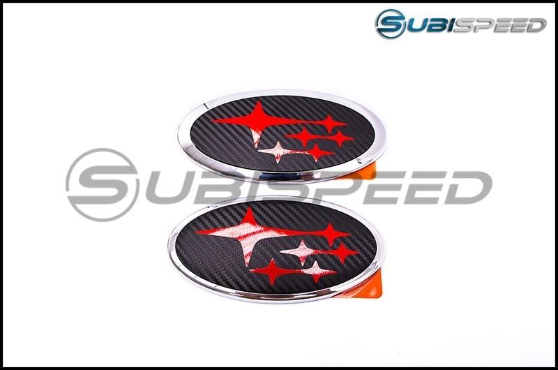 Front and Rear 3D Carbon Fiber Emblem Overlays