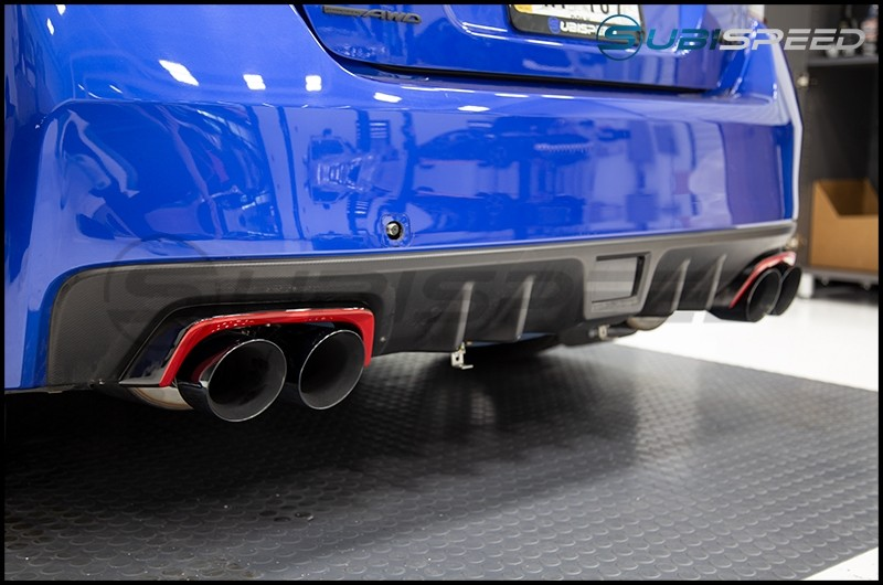 OLM Gloss Black Exhaust Finishers with Red Line