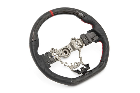 FactionFab Steering Wheel Carbon Top/Bottom with Leather Sides - 2015+ WRX / 2015+ STI