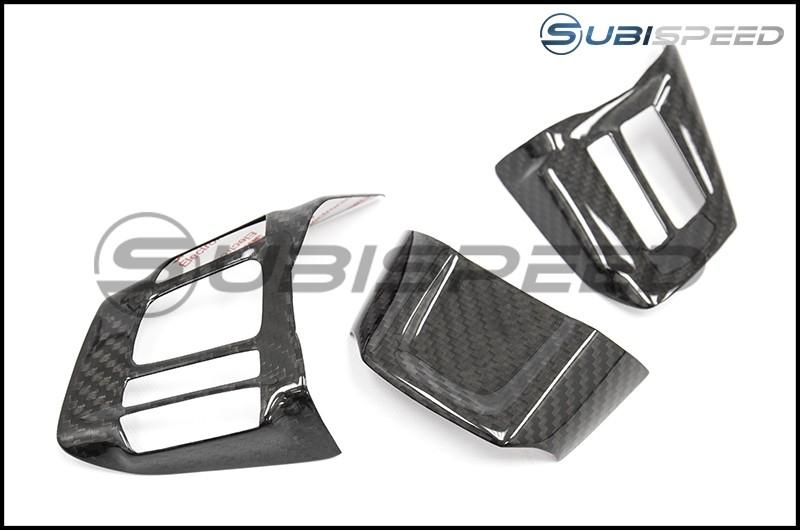 OLM S-line Carbon Fiber Steering Wheel Covers - 2016+ WRX / 2016+ STI
